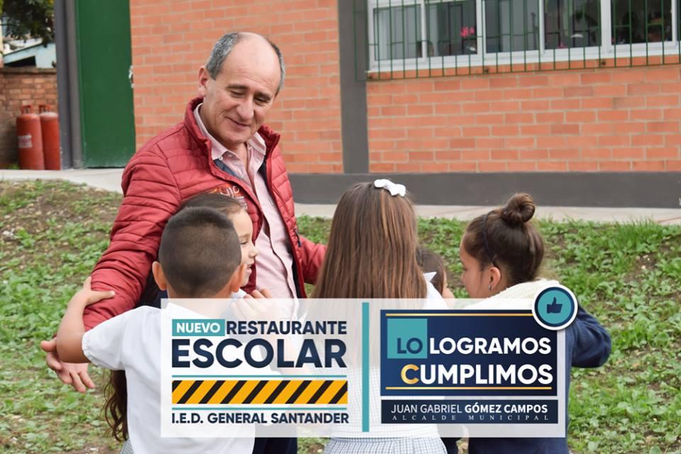Alcalde Municipal de Tenjo, entrega un nuevo Restaurante Escolar para la Institución Educativa General Santander