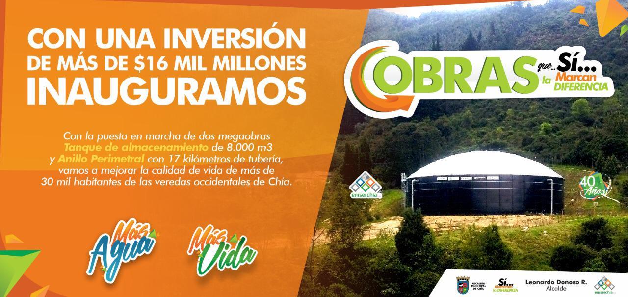 Arranca la cuenta regresiva para la inauguración del tanque de almacenamiento y el anillo perimetral en Chía.
