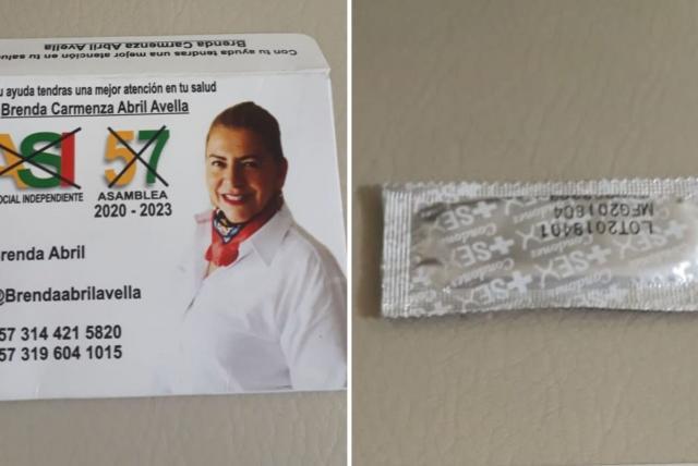 Candidata a la Asamblea reparte condones con su foto en Santander