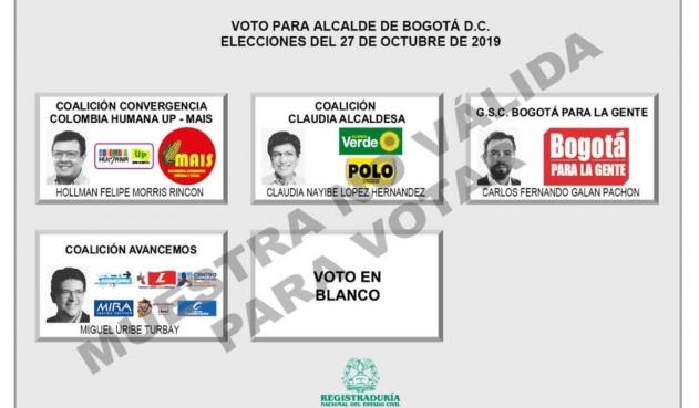 Así quedó el tarjetón electoral para la Alcaldía de Bogotá y la Gobernación de Cundinamarca
