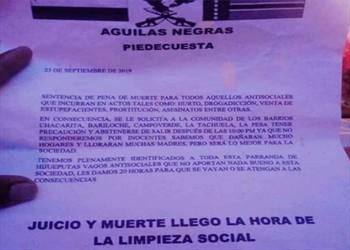 Los panfletos que amenazan con limpieza social en Piedecuesta, Santander