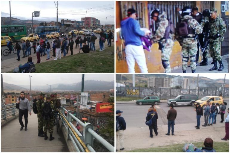Las imágenes de la militarización en Soacha a causa del paro