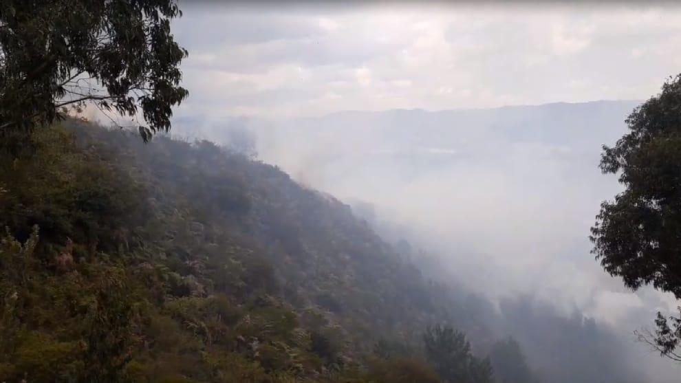 Incendio forestal en el Cerro Pan de azúcar amenaza con llegar hasta zona poblada de Tenjo