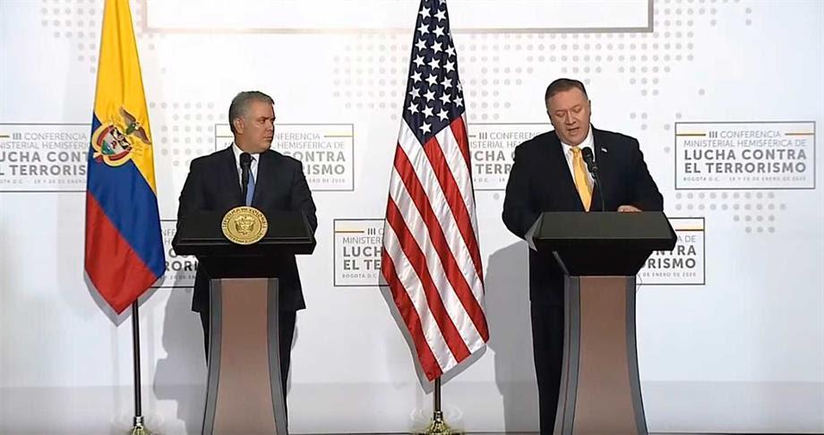 Colombia es el adalid de la libertad en el hemisferio, afirmó en Bogotá el Secretario de Estado de EE.UU., Mike Pompeo
