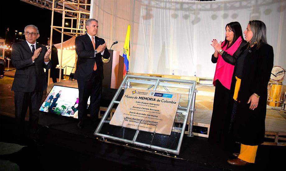 'La paz se construye con justicia y la justicia se construye reparando a las víctimas, donde los victimarios no sean los protagonistas', afirmó el Presidente Duque en acto de la puesta de la primera piedra del Museo de Memoria de Colombia