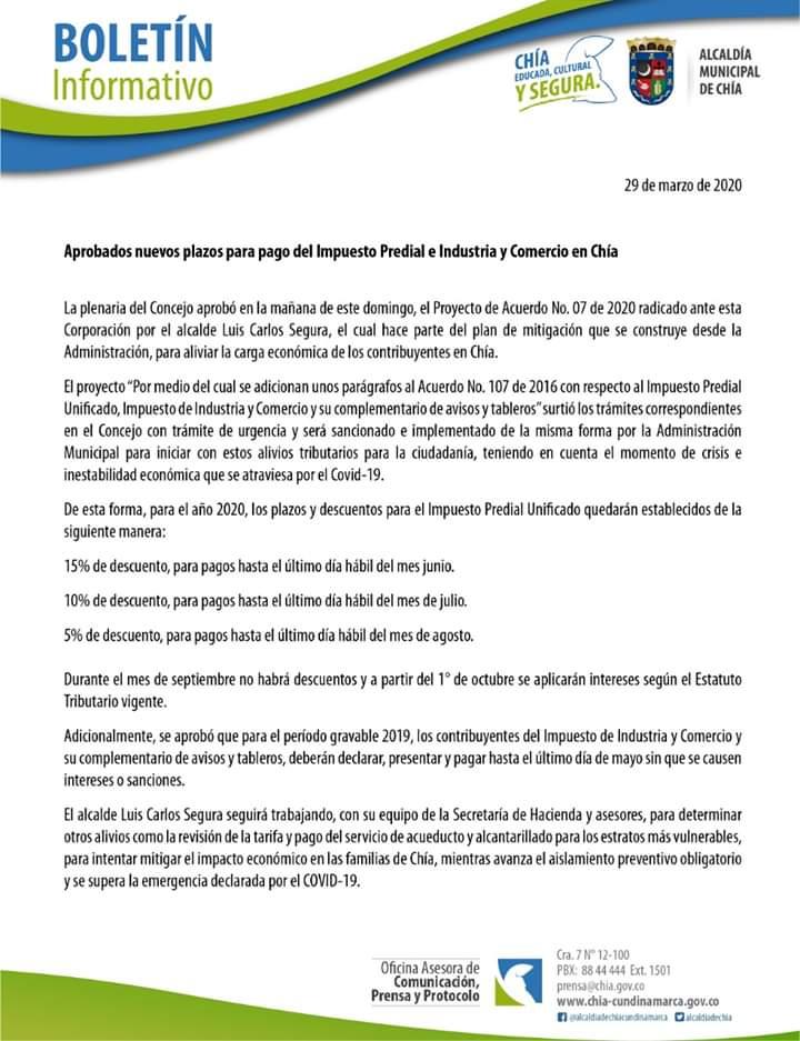 Aprobados nuevos plazos para pago del Impuesto Predial e Industria y Comercio en Chía