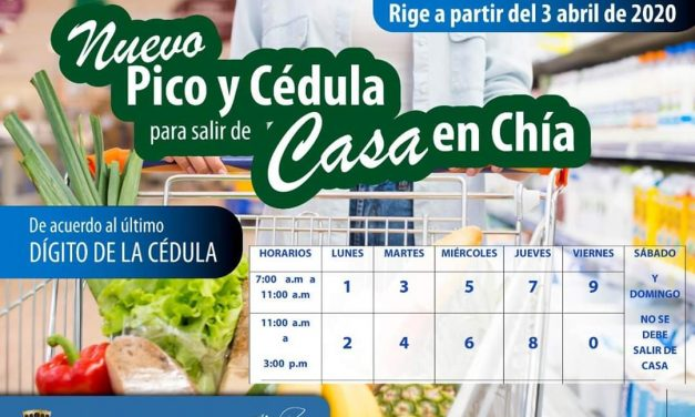Nuevo Horario de Pico y Cédula en Chía.