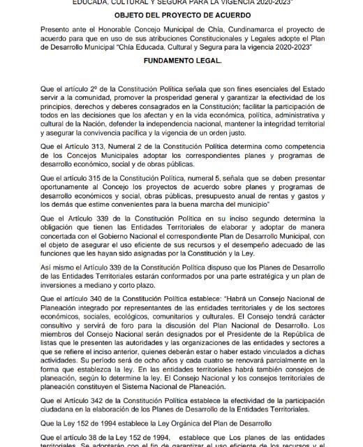 Proyecto de acuerdo,por medio del cual se adopta el Plan de Desarrollo Municipal: Chía Educada,Cultural y Segura Vigencia 2020-2023