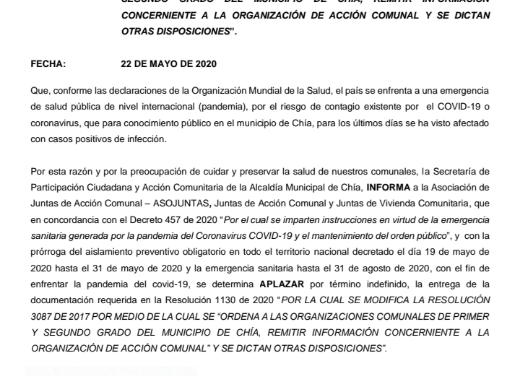 CIRCULAR No 07 –   SECRETARÍA DE PARTICIPACIÓN CIUDADANA Y ACCIÓN COMUNITARIA DE LA ALCALDIA MUNICIPAL.