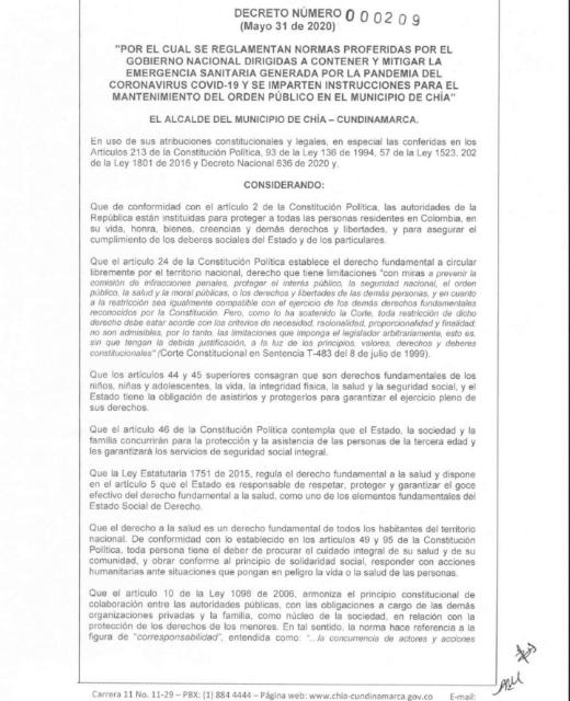 Nuevas medidas de aislamiento obligatorio en Chía, consulte el Decreto