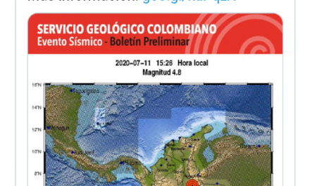 Fuerte temblor en Colombia este sábado 11 de julio