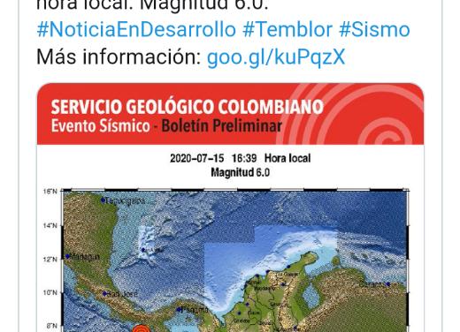 Temblor de 6.0 grados sacude Panamá y se siente en gran parte de Colombia