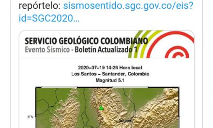 Se registra fuerte temblor en Colombia este domingo