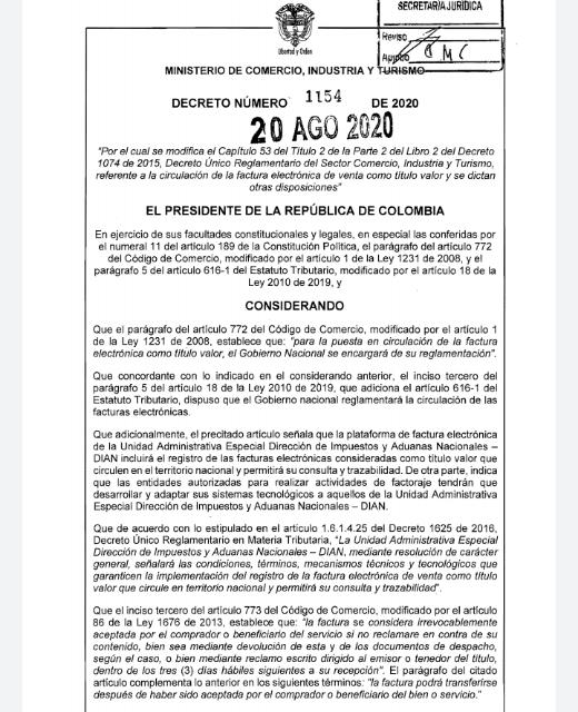 Gobierno expidió Decreto 1154, que reglamenta la circulación de la factura electrónica de venta como título valor