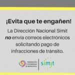 Simit no envía correos electrónicos solicitando pago de infracciones de tránsito