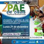 La Secretaría de Educación invita a la comunidad en general, a acompañar la 'Segunda Mesa Pública PAE'