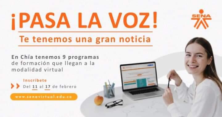 El SENA abre nueve programas de formación virtual para los jóvenes de Chía.