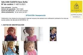 Circular amarilla para buscar a Sara Sofía Galván en 196 países, Interpol expide